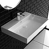 Alpenberger Hänge-Waschbecken 60 x 45,5 cm aus Keramik | Handwaschbecken mit integriertem Überlauf | Eckiges & Elegantes Ausgussbecken | Wandmontage Möglich | Leichte Montage & Genormte Anschlüsse