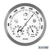 MAVORI® Wetterstation analog für innen und außen mit Edelstahl Rahmen im modernen Design - bestehend aus Barometer, Hygrometer und Thermometer