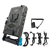 Supfoto V-Mount Akkuplatte mit 15 mm Stabhalterung V Lock Akkuplatte mit D-Tap & USB-Ausgang LP-E6 Dummy Akku für BMPCC 4K/6K 5D2/5D3/5D4/6D/6D2/7D/7D2/70D/80D/5DSR Kamera