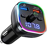 FM Transmitter Auto Bluetooth, OMORC QC3.0 Radio Adapter mit 7 Farbe LED Backlit, Dual USB Transmitter Unterstützung Bluetooth V5.0 / U Disk / TF-Karte / Bluetooth / Freisprecheinrichtung