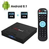 Greatlizard Android TV Box Android 8.1 Smart TV Box 4GB RAM 32GB ROM BT 4.1 RK3328 Quad-core 4K Full HD 2.4Ghz WiFi