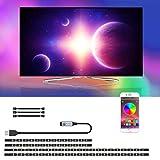 LED TV Hintergrundbeleuchtung - SRUIK 3m USB TV LED Hintergrundbeleuchtung für 46-65 Zoll Fernseher, Bluetooth App-Steuerung, Synchronisierung mit Musik, PC Monitor, SMD5050 RGB LED Strip