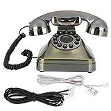 Deansh Vintage-Telefon, Antikes Festnetztelefon aus Bronze mit HD-Anruf und großem Knopf, ABS-umweltfreundliche Vintage-Telefondekoration für Heim und Büro (US/UK-Verkabelung)