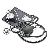 Belmalia Blutdruckmessgerät mit Stethoskop, Pumpball, Manometer, Manschette, Tasche für Rettungsdienst, Arzt, Praxis, Manuell, Schwarz
