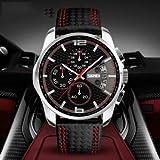 LLDKA 50m wasserdicht Ledergürtel Geschäftsmann Uhr wasserdicht Sportuhr Uhr Datum Quarz Stoppuhr Uhruhr,Rot