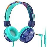BlueFire Kopfhörer Kinder, Verstellbare Kinderkopfhörer mit 85dB Lautstärkebegrenzung, 3,5-mm-Klinkenkabel Faltbare Kopfhörer, Kinder Kopfhörer für Handy, PC, Tablet, Blau