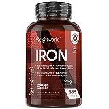 Eisen Tabletten - 365 vegane Eisentabletten für 1 Jahr Vorrat - Gut verträgliches Eisenfumarat in jeder Tablette - Wichtiges Spurenelement & Hohe Bioverfügbarkeit - Iron Tablets - WeightWorld
