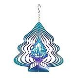 wojonifuiliy-Weihnachts Windspiele für Draußen Metall Hängend - Schneeflocke Windspiele 3D Spiegel Gartendeko Geschenkidee Rotierende Anhänger Außendekoration Kreative Wind-Chimes Outdoor (Farbe)