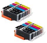 Bergsan 10 Druckerpatronen kompatibel mit Canon PGI-550 XL CLI-551 XL für IP7200 IP7250 IX6800 IX6850 MG5400 MG5450 MG5550 MG5600 MG5650 MG5655 MG6400 MG6450 MG6600 MG6650 MX720 MX725 MX920 MX925