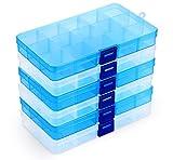 ilauke Fächer Aufbewahrungsbox, Klar Sortierboxen Plastik Aufbewahrungsbox Schmuckkasten Einstellbar Sortimentskasten für Schmuck Veranstalter Perlen Ohrring - 15 Raster*6 Stück