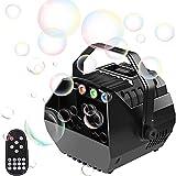 U`King Kleine Seifenblasenmaschine mit RGB Lichter Schaummaschine Automatischer Blasenmaschine Bubble Machine von Fernbedienung für Kinder Party Hochzeit Blasengebläse