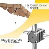Sonnenschirm Balkon + Schirmständer Sonnenschirm Set – Optimal Schatten und Sonnenschutz für den Balkon – Sonnenschirm Komplett-Set aus Sonnenschirm rechteckig mit Sonnenschirmhalter Balkongeländer