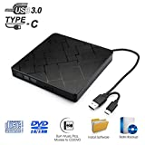 Externes CD DVD Laufwerk USB 3.0 MILFECH Tragbar Slim CD/DVD-RW Brenner Mit Typ C Plug & Play Superdrive für Laptop PC unter Windows 7/8/10/XP und Mac OS für Apple MacBook MacBook Pro MacbookAir
