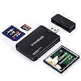 KiWiBiRD USB 3.0 (3.1 Gen 1) Super-Speed Kartenleser 9-in-1 für CF (UDMA), Compact Flash, SDXC, SD, MMC, RS-MMC, SDHC, Micro SD, Micro SDXC, Micro SDHC Karten [Unterstützt UHS-I Karten] – Schwarz