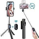 Naohiro Selfie Stick Stativ, 3 in 1 Mini Selfiestick mit Bluetooth-Fernauslöse Handy Erweiterbarer Selfie-Stange,Handyhalter 360°drehnbar,für iPhone Android Samsung 3,5-6 Zoll Smartphones