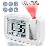 Projektionswecker, TedGem Reisewecker Digitaler Wecker Tischuhr 3,8'LCD Anzeige, Große Anzahl, 4 Helligkeit, 9 Min Snooze, 2 Alarmtöne, für Schlafzimmer, Büro, Küche (Weiß)