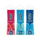 Durex Play Ausprobierpaket mit 3 verschiedenen Gleitgelen   Sweet Strawberry & Prickelnd & Feel (3 x 50ml)