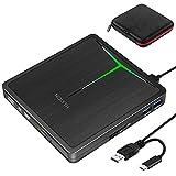 Externes DVD Laufwerk,USB 3.0 Type-C Slim Portable CD DVD +/-RW ROM Optical Drive Brenner Player mit SD/TF-Kartenleser Reader,Super Laufwerk für Laptop,Desktop Mac,iOS,Windows 10/8/7/XP/Linux