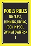 Blechschild Warnschild Pools Rules No Glass Running Diving Food in Pool Swim at Own Risk Swimming Caution Notice Zimmer Metall Poster Wanddekoration