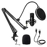 Kondensator Microphone, Diealles Shine Mikrofon PC Mit Arm, Podcast Mikrofon Set 192KHz/24 Bit Mit Tischstativ und Popschutz, Popfilter für Aufnahme, Podcasting, Voice-Over, Streaming, YouTube