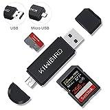 KiWiBiRD SD Micro SD Kartenleser, USB 2.0 Kartenlesegerät, Micro USB OTG Speicherkarten Adapter...