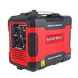 Matrix 160100034 PG 2000i-USB Inverter Stromerzeuger, Stromgenerator Benzin leise, 4 takt, 2000 Watt, für Camping und Garage, rot, schwarz