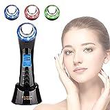 Ultraschallgerät Ultraschall Gesichtslifting Schönheitsgerät Faltenentferner mit Vibration LED Photon Ionen Anti-Falten und Anti-Aging Hautstraffung Massagegerät Maschine 4 in 1 Toninggeräte
