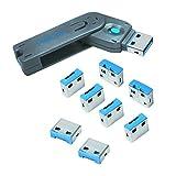 LogiLink AU0045 USB Port-Blocker Schloss (1x Schlüssel und 8x Schlösser) grau