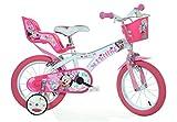 Minnie Maus Kinderfahrrad Mädchenfahrrad – 14 Zoll   Original Disney Lizenz   Kinderrad mit Stützrädern, Puppensitz und Fahrradkorb - Das Minnie Maus Fahrrad als Geschenk für Mädchen