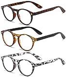 VEVESMUNDO® Lesebrillen Damen Herren Retro Runde Lesehilfe Sehhilfe Arbeitsplatzbrille Nerdbrille Hornbrille mit Stärke Schwarz Leopard Blau Rot Brau