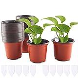 FORMIZON 100 Stück Pflanztöpfe 10 cm Pflanzentöpfe aus Kunststoff mit 10 Steckettiketten, Kunststoff Saattöpfe Runde Töpfe Plastik für Innen und Draußen