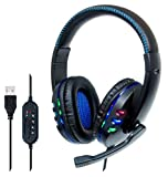 Manhattan 176088 USB-Gaming-Headset mit LEDs für PC, Mac, PS3 & PS4, verstellbares Mikrofon,...