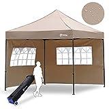 Sekey Garten 3X3M Pavillon/Faltpavillon/Gartenpavillon/Gartenlauben, 100% Wasserdicht für Garten/Party/Hochzeit (3x3m + 2 Seitenteile, Khaki)