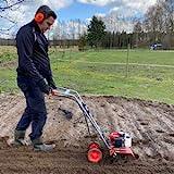Benzin Gartenhacke (NEU) Effektive Bodenbearbeitung mit 25 cm Arbeitsbreite – 2-Takt Motor – 16 harte Messer – Motorhacke – Bodenfräse – Bodenhacke – Kultivator – zum Garten umgraben und lockern (Rot)