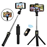 Naohiro Selfie Stick Stativ, 3 in 1 Mini Selfiestick mit Bluetooth-Fernauslöse Handy Erweiterbarer Selfie-Stange,Bluetooth-Fernauslöse für iPhone Android Samsung 4,7-6 Zoll Smartphones