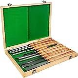 VEVOR Stechbeitel Set Holz Schnitzwekzeug Hochgeschwindigkeitsstahl Meißel Stecheisen Satz (8 Stück Grün)