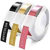 Anycolor kompatible Prägeband als Ersatz für Dymo 3D Prägegerät band Vinyl Kunststoff 9mm, Weiß auf Schwarz/Gold/Rosa, Arbeiten mit Dymo Junior Etikettenprägegerät Dymo Omega Junior Embosser