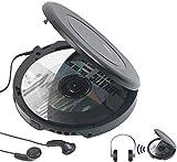 auvisio CD Spieler: Tragbarer CD-Player mit Ohrhörern, Bluetooth und Anti-Shock-Funktion (Portable...