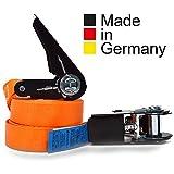 2er Set KFI Cargo Control qualitätsgeprüfte Spanngurte mit Ratsche | Länge: 6 m | Ratschengurt einteilig nach EN 12195-2 | Zurrgurte 400/800 kg