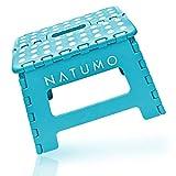 NATUMO® Premium Tritthocker Klapphocker 150kg - Faltbar Küchenhocker Klapptritt Bad-Hocker Klappbar Klein Kinderfußbank Kindertritt Aufstiegshilfe Waschbecken Für Kinder Erwachsene (Blau)