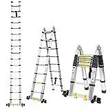 5M Alu Teleskopleiter Klappleiter , Rutschfester ausziehleiter mit stabilisator und 2 Rollen , Leiter ausziehbar 150 kg Belastbarkeit