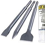 S&R Meißel Set SDS-plus 3-teilig, universell einsetzbar, sehr lange Lebensdauer; Flachmeißel, Spatmeißel, Spitzmeißel