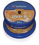 Verbatim DVD-R 16x Matt Silver 4.7GB I 50er Pack Spindel I DVD Rohlinge beschreibbar I 16-fache Brenngeschwindigkeit & Hardcoat Scratch Guard I DVD-R Rohlinge I DVD leer I Rohlinge DVD