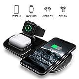 MixMart Kabellose Ladestation, 3 in 1 Wireless Charger Ladegerät für iWatch 5/4/3/2 Schnellladen für iPhone 11/11 Pro/XR/XS/X,Galaxy S20/S10,AirPods und mehr (mit iWatch Ladegerät/kein Adapter)