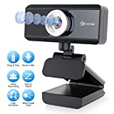 EIVOTOR Full HD Webcam 1080P mit Mikrofon Computer Kamera PC Webcam USB Laptop Streaming Kamera Bussiness Webcam für Konferenz, Zoom, Skype, Google Hangouts, YouTube, Windows, Mac OS, Linux, Android