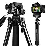 ESDDIPhoto Kamera Stativ 170cm Aluminium Stativ Kompakt Leichtes Stativ Kamera für Smartphone DSLR Canon Sony Olympus mit Handy Halterung Tragetasche, Maximale Belastung 5 kg