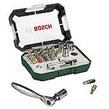 Bosch 26tlg. Schrauberbit- und Ratschen-Set (Extra harte Qualität, Zubehör Bohrschrauber und Schraubendreher)
