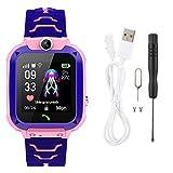 Cerlingwee Smartwatch Drop Alarms Location Watch Integrierte Spiele Firewall Notruftelefon für Kinder(Pink)