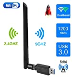 EasyULT WLAN Stick, USB 3.0 WLAN Adapter 1200Mbps WiFi Dongle High Speed 802.11ac 5dBi Dualband...