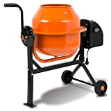 EBERTH 65 L Betonmischer (220 Watt, 230 Volt, integriertes Rührwerk, 2 Räder, Fußplatte, robuster Motor, stabiles Stahlgestell) orange-schwarz